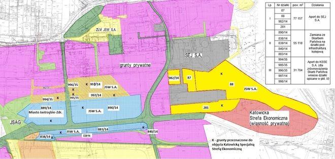Tereny byłej kopalni Moszczenica z tymi, które zostaną włączone do KSSE