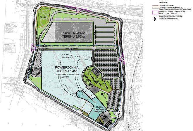 To koncepcja zagospodarowania terenu w strefie centrum, która prawdopodobnie powstała na bazie projektu z 2006 roku, gdy inny inwestor chciał budować galerię w tym miejscu
