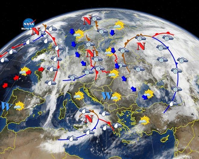 Zdjęcie satelitarne pokazujące prognozowany rozkład mas powietrza na dzień 23 grudnia.