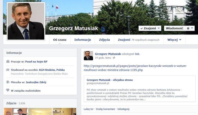 Poseł Grzegorz Matusiak jest bardzo aktywny na Facebooku