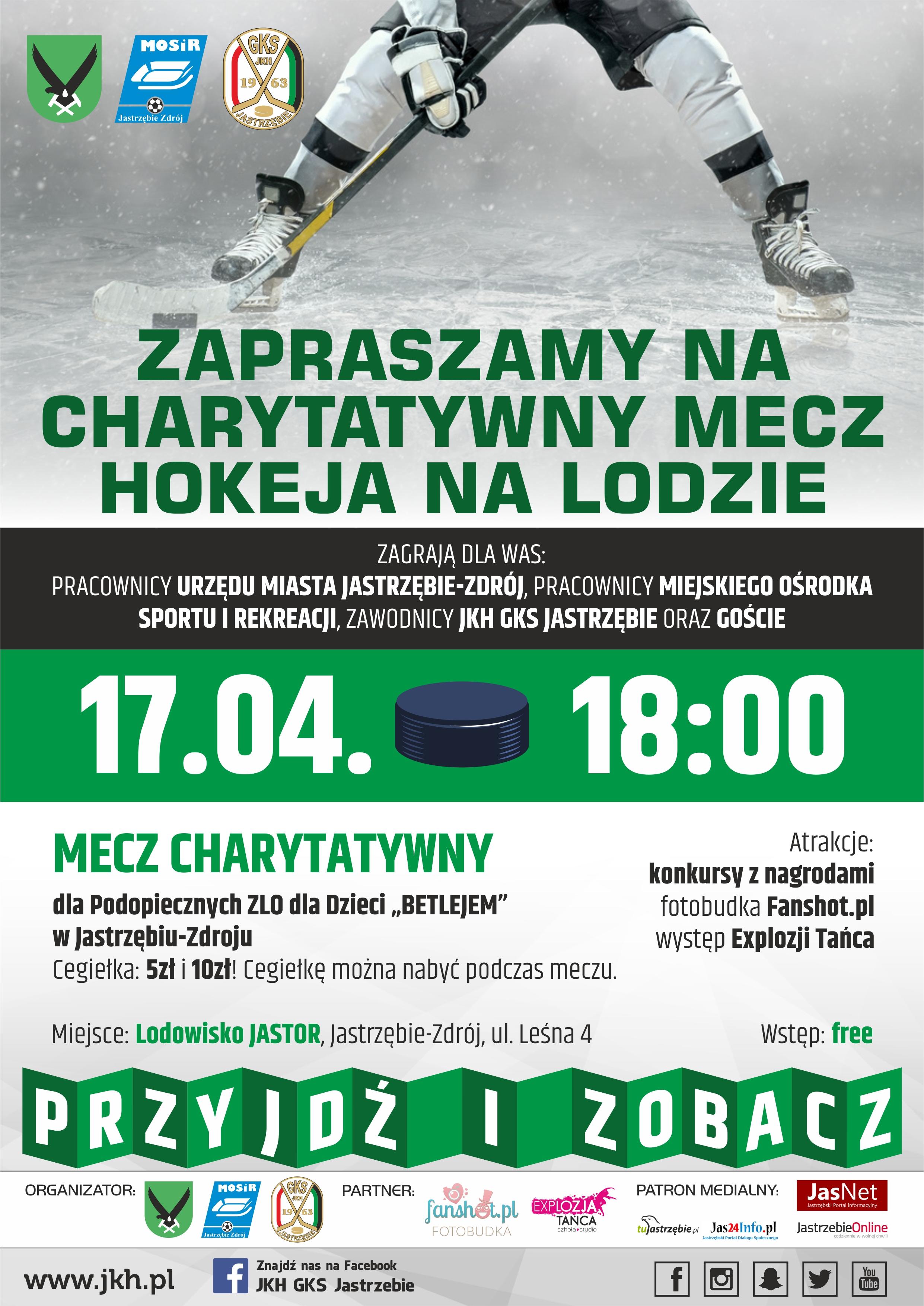 Plakat promujący charytatywny mecz z udziałem zawodników JKH GKS Jastrzębie
