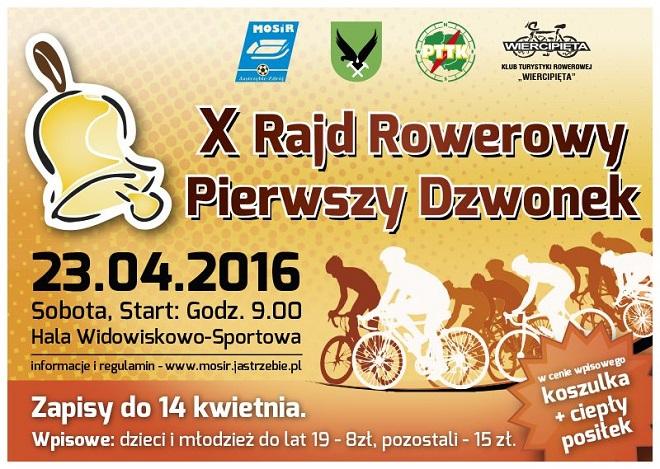 23 kwietnia odbędzie się X Rodzinny Rajd Rowerowy ''Pierwszy Dzwonek''. Zapisy internetowe do 14 kwietnia