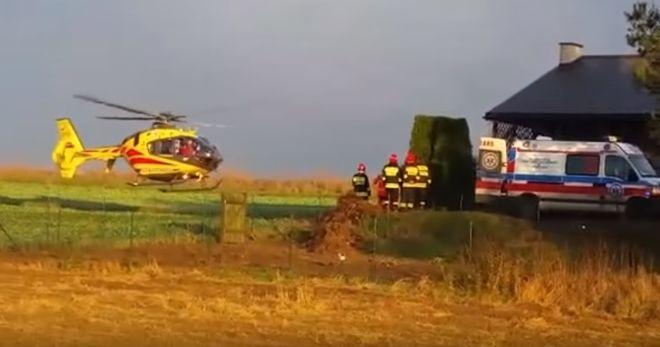 Podczas prac mężczyźni spadli z rusztowania. Jednego z nich zabrał helikopter, Facebook - Jastrzębie 112